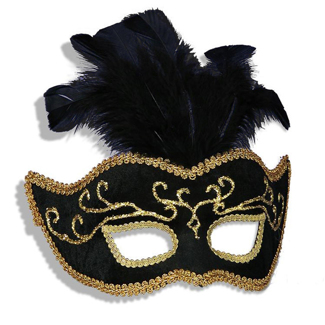 Black Venetian Half Mask w/ Feathers