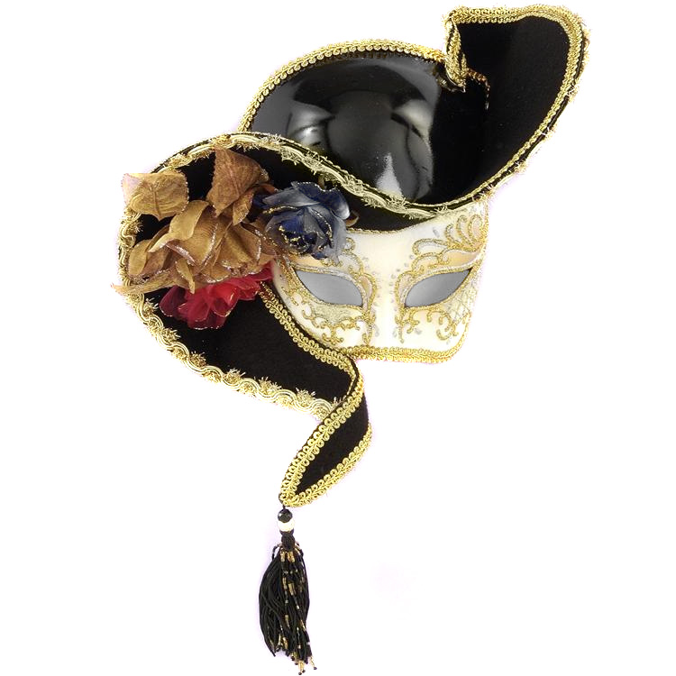 Gold Venetian Mask with Hat