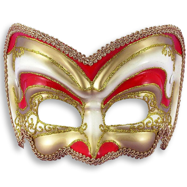 Red and Gold Venetian Half Mask